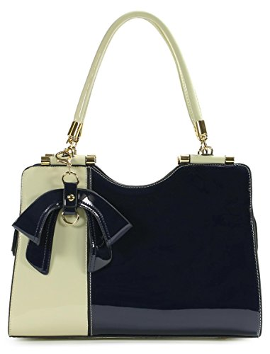 - Scarleton Elegant Two Tone Satchel H14230219 - Off White/Navy