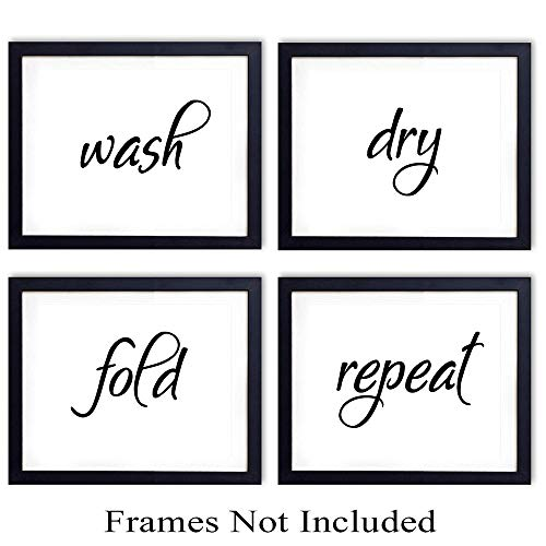 Funny Wall Art Print Typography - Set of Four Photos (8x10) Unframed - Makes a Great Gift for Laundry Rooms and Home Wall Decor - Wash, Dry, Fold, Repeat