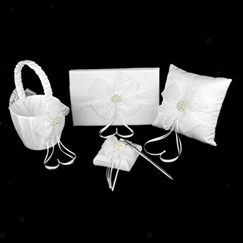 Wedding Guest Book and Pen Set Flower Basket Ring Pillow with Lace BowKnot