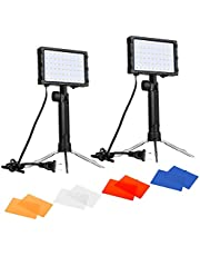 Emart 60 LED Continuous Portable Photography Lighting Kit for Table Top Photo Video Studio Light Lamp with Color Filters - 2 Sets