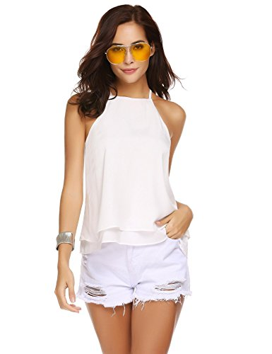 Pinspark Womens Casual Camisole Loose Chiffon Halter Neck Tank with Uneven Hem Blouse Top White XXL