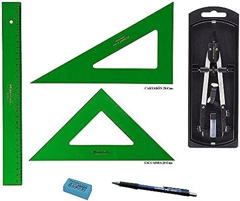 PACK LOTE Faber Castell Técnico - Regla 813-30 Cms + Escuadra 566 ...