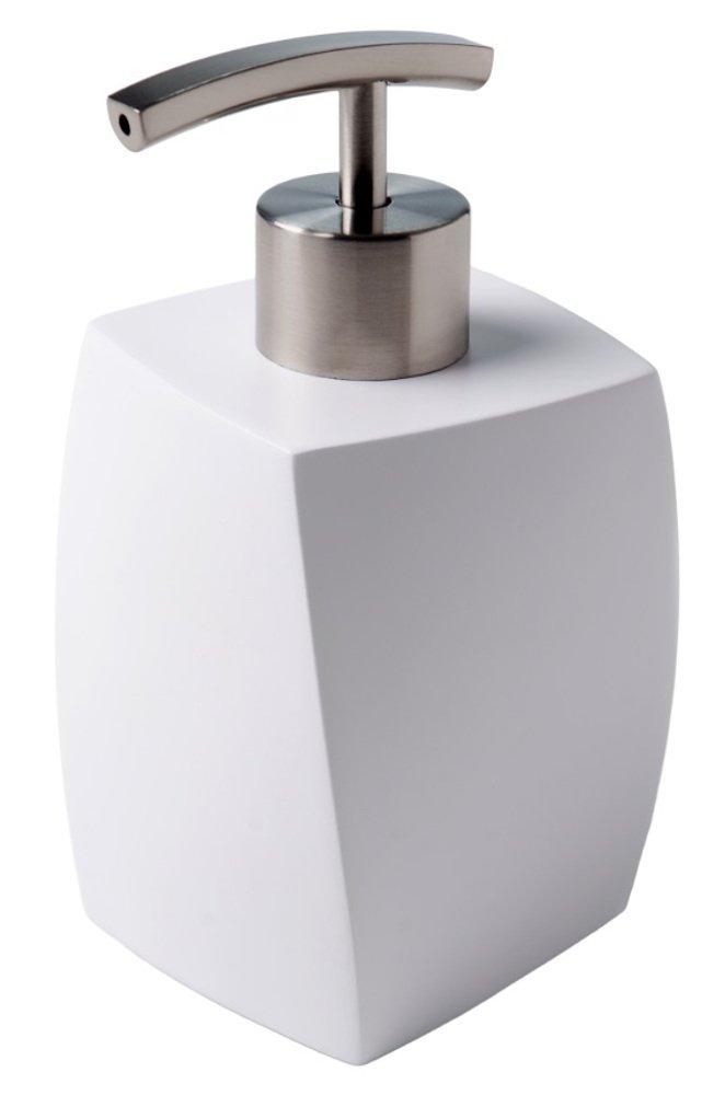 pflegeleicht Modernes Badezimmer Set elegantes Design hochwertiger Kunststoff Seifenspender mit passender WC B/ürste White Swing Set