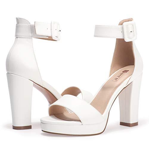 IDIFU Women's IN4 Sabrina Platform Chunky High Heels Ankle Strap Heeled Sandals Wedding Party Dress Shoes