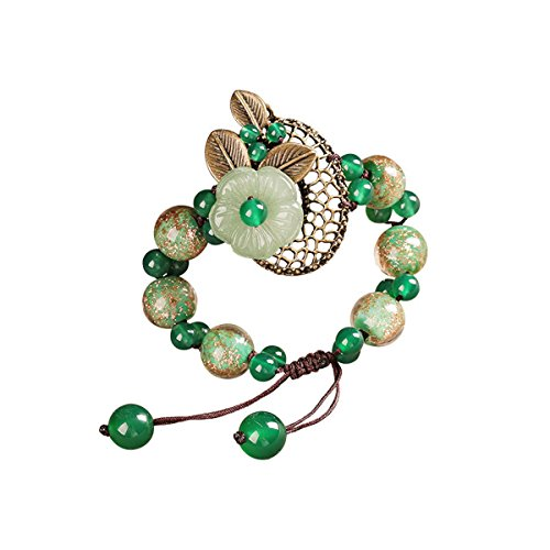 Olici Ladies And Teen Girls Elastic Beaded Charm Bracelet Ancient Wind Chinese Wind Bracelet Glazed Hand String Jewelry Retro National Wind Ornament
