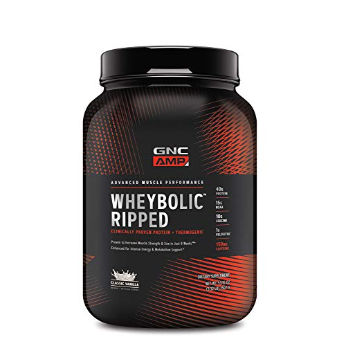 GNC AMP Wheybolic Ripped Whey Protein Powder, Classic Vanilla, 22 Servings, Contains 40g Protein and 15g BCAA Per Serving best to buy