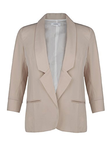 AURORA+Women%27s+Spring+Notched+Lapel+No+Button+3%2F4+Sleeve+Suiting+Beige