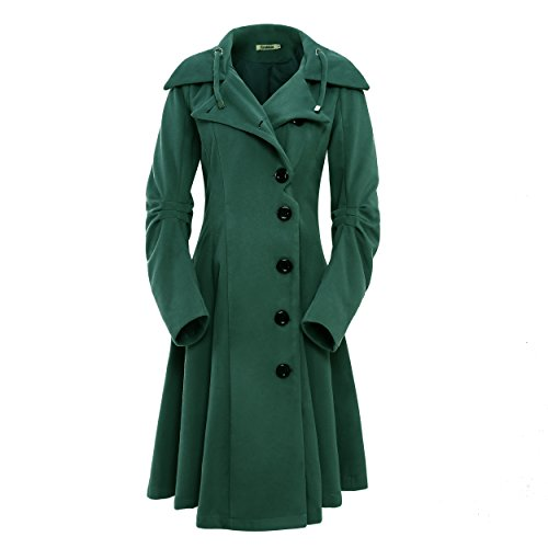 ForeMode Women's Jacket with Button Closure Asymmetrical Hem Long Trench Black Cloak Wool Coat (S, ArmyGreen)