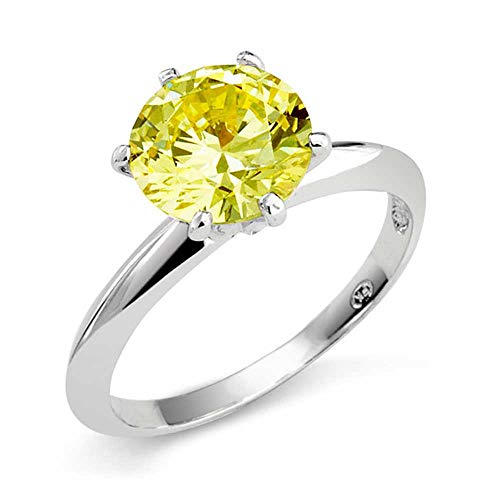 (Christmas Gifts Silver Plated 3.5ct Canary CZ Solitaire Engagement Ring size 5)