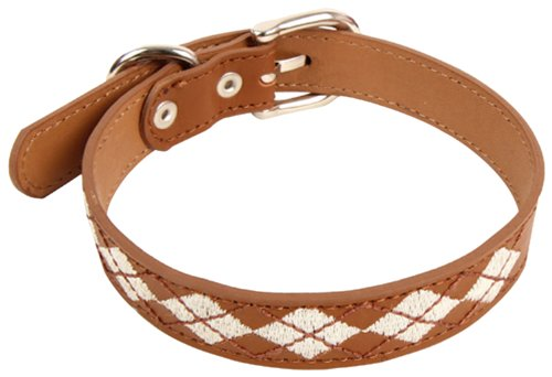 Puppia Trinity Leather Collar, Brown, Large