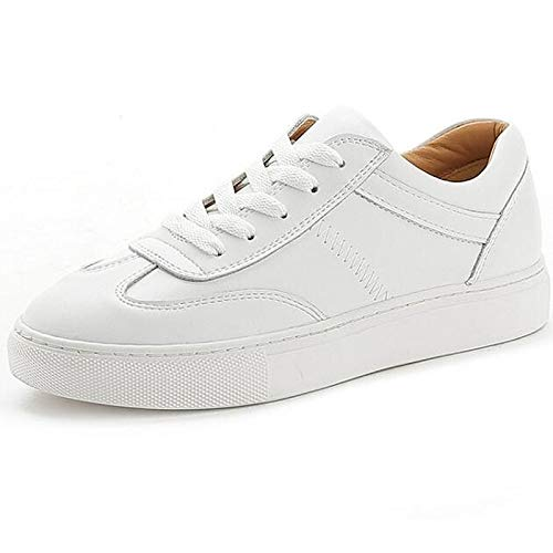 ZHZNVX Zapatos de Mujer Nappa Leather Spring Comfort Sneakers Flat Heel White White