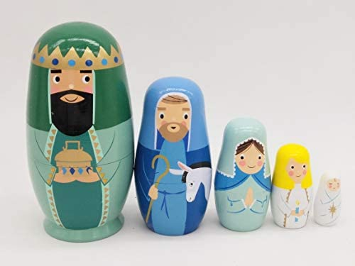 SaJiDao Handmade Nesting Dolls 5pcs  Authentic Russian Wooden MatryoshkaPieces Handmade Toys for Children Kids. (King)