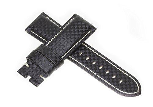 22mm CARBON FIBER Strap Black Deployment Watch Band White Stitch Made for PANERAI by Vintage G - Mens Black Carbon Strap