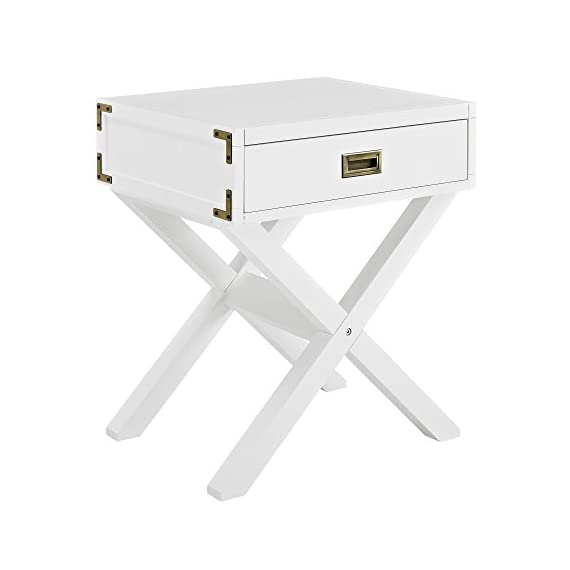 Dorel Living Miles Nightstand, White - Campaign style nightstand Sturdy wood construction in a non-toxic classic white finish Features modern aesthetics such as an X-base leg design and aged brass decor metal plates on each side of the Miles Nightstand - nightstands, bedroom-furniture, bedroom - 41IW629BU6L. SS570  -
