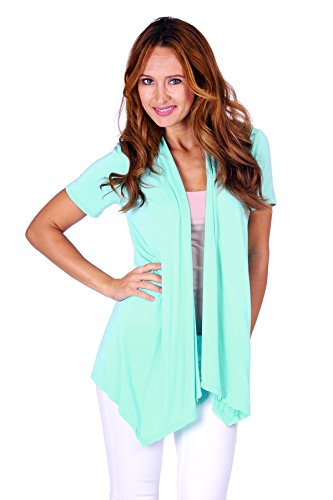 (Simply Ravishing SR Women's Basic Short Sleeve Open Cardigan (Size: Small-5X), 1X, Peppermint)