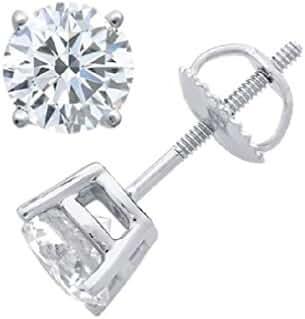 Round Diamond stud (IGI Certified 0.70ct &up) Popular Quality ScrewBack 14K 0.04ct-2.00ct Clarity-I2