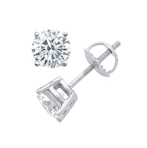 PARIKHS Round Diamond stud Popular Quality Screw Back 14K White Gold (0.15 ctw, Clarity-I2) - 0.075 Ct Diamond