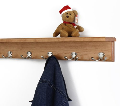 Solid Cherry Shelf Coat Rack with Satin Nickel Double Style Hooks (Cherry, 26'' with 5 hooks) by PegandRail