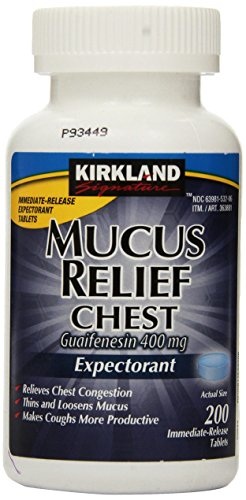 - Kirkland Signature Mucus Relief Chest Guaifenesin 400 mg Expectorant - 200 Immediate Release Tablets
