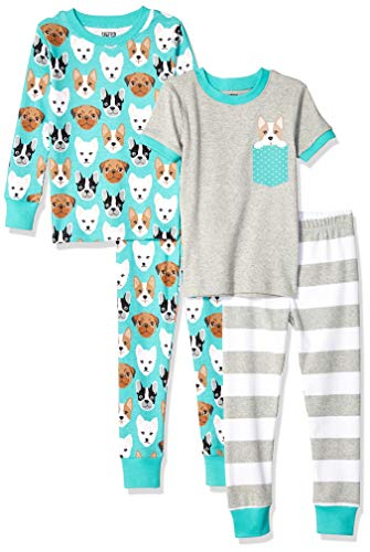 Spotted Zebra Kids 4-Piece Snug-Fit Cotton Pajama Set, Puppies Medium (8) -