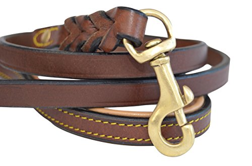 Soft Touch Collars Leather Braided Dog Leash, Brown 4ft