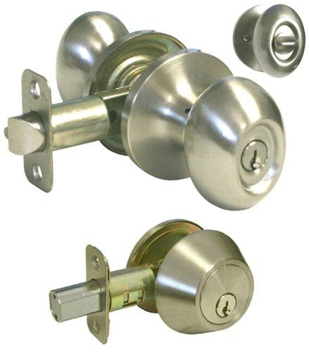 Satin Nickel Entrance Oval Egg Knob & Single Cylinder Deadbolt Combo Keyed Alike