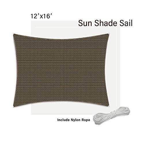 SunnyRoyal 12' x 16' Sun Shade Sail for Patio Backyard Deck UV Block Fabric - Rectangle Brown