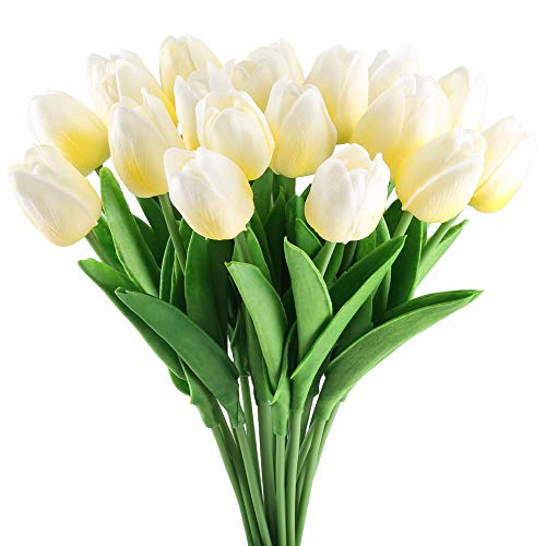 GTIDEA 20 Pack Artificial Tulip Flower Branch Latex Real Touch Fake Flores Wedding Bouquet Home Party Decor (Milk White)