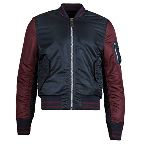 Alpha Industries Men's MA-1 Varsity Bomber Jacket, Replica Blue/Maroon, XX-Small by Alpha Industries