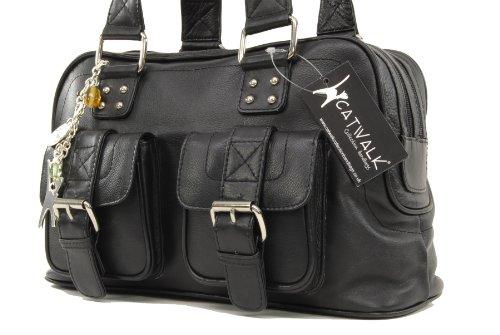 Caroline signé Sac Catwalk Noir cuir en main Collection à xqww6n1T