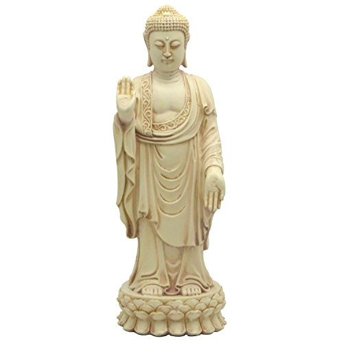 No Fear Standing Buddha Statue in Stone Color, 9.5 Inches