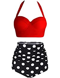 Amourri Womens Retro Vintage Polka Underwire High Waisted...