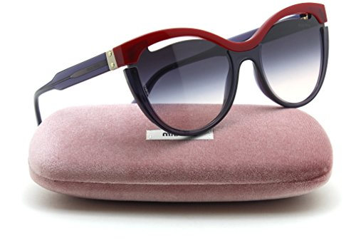 Miu Miu MU 01TS SORBET Collection w/Cutout Women Gradient Sunglasses (Red Transparent Lilac, Pink Dark Violet Gradient - New Miu Sunglasses Miu