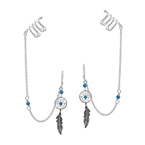 Dream Catcher Chain Simulated Turquoise .925 Sterling Silver Dangle With Ear Cuff Earrings