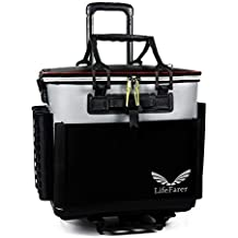 LifeFarer Waterproof Fishing Tackle Bag with Separated Inner Bag for Fish or Gear and Rod Holder – 3 Ways Carrying Including Roller Wheels Trolley – Saltwater Freshwater Outdoor Sports Tackling Game
