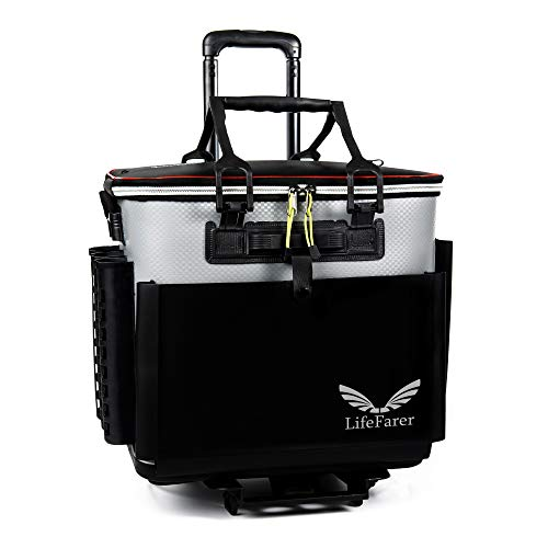 - LifeFarer Waterproof Fishing Tackle Bag with Separated Inner Bag for Fish or Gear and Rod Holder - 3 Ways Carrying Including Roller Wheels Trolley - Saltwater Freshwater Outdoor Sports Tackling Game