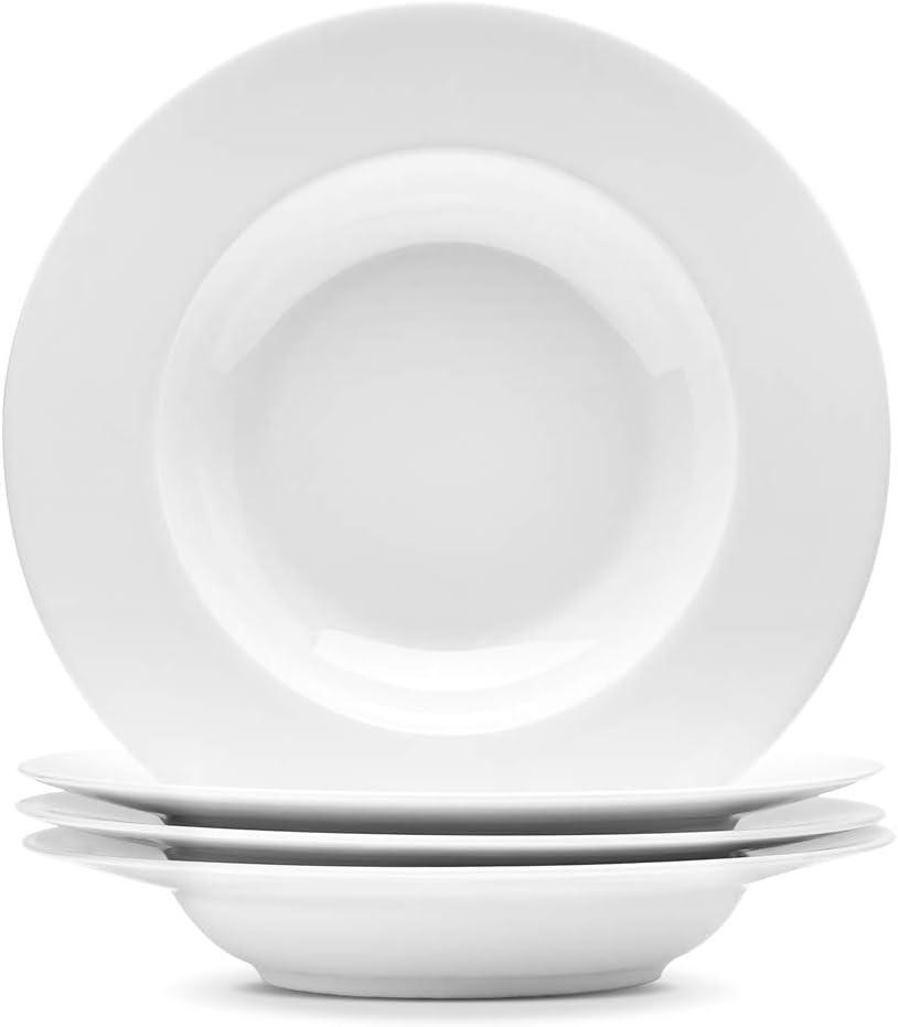 Artena Elegant Bright White Pasta Bowls Set of 4-9.35 Inches Porcelain Wide Pasta Plates Salad Plates with Rim design Microwave Oven Safe