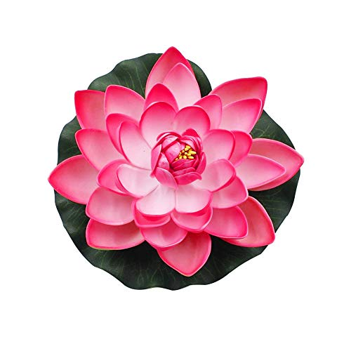 super1798 Artificial Lotus Flower Fake Floating Water Lily Garden Pond Fish Tank Decor Plant-Peach Red