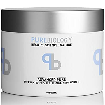 Pure Biology Clay Face Mask For Deep Facial Cleansing & Reduction in Pores, Skin Spots, Blackheads & Acne – Infused w/ Pea Peptide Extract to Instantly Brighten & Smooth (9 oz)