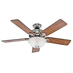 Hunter Fan 53249 Pro\'s Best Five Minute Fan 52-Inch Brushed Nickel Ceiling Fan with Five Chestnut/Blackened Rosewood Blades and Glass Bowl Light Kit