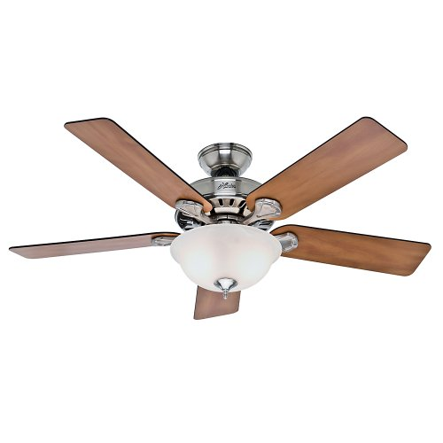 - Hunter 53249 Pro's Best Five Minute Fan 52-Inch Brushed Nickel Ceiling Fan with Five Chestnut/Blackened Rosewood Blades and Glass Bowl Light Kit
