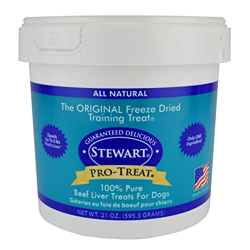 Stewart Freeze Dried Beef Liver Dog Treats, Grain Free, All Natural, Made in USA by Pro-Treat, 21 oz., Resealable Tub