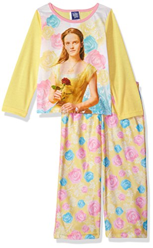 Price comparison product image Disney Little Girls' Beauty and The Beast Belle 2-Piece Pajama Set, Yellow, 4