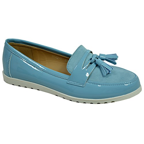 Ladies on Blue Fashion UK Flats Ballerina Womens 8 Slip Size Cucu New Shoes Patent Fringe 3 qdXwFqtZ