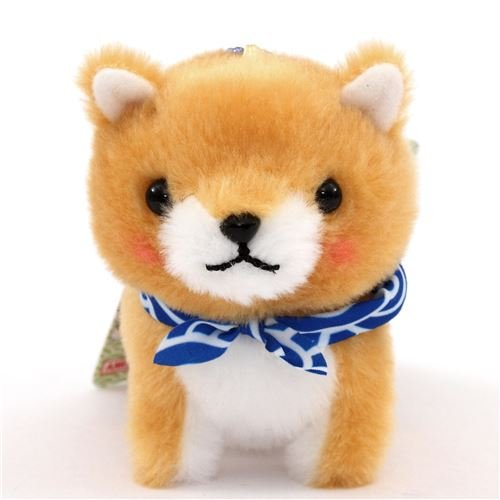 Light brown dog with blue white scarf Mameshiba San Kyodai p