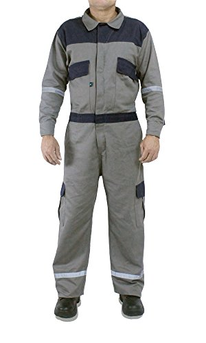 Kolossus Deluxe Long Sleeve 100% Cotton Coverall With Oversized Pockets and Enhanced Visibility. (Medium, Gray)