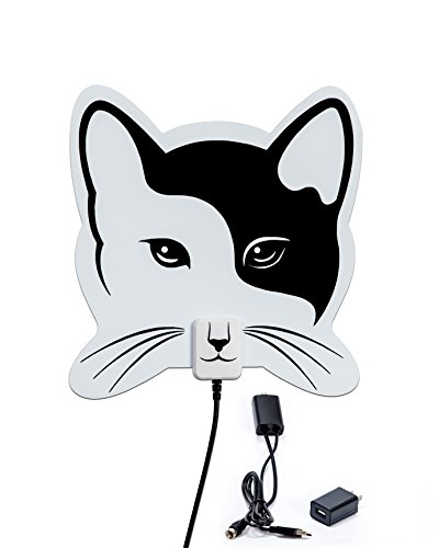 - BRAND NEW DESIGN JUNE 2018 Cat Shaped Indoor HD TV Antenna from AnimalTenna 50+ Mile Range Detachable Signal Boosting USB Power Supply Amplifier, 10 Foot High Performance Coaxial Cable