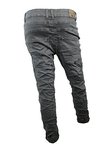 Denim Stretch Baggy-Boyfriend-Jeans boyfriend 4 Knöpfe offene Knopfleiste weitere Farben (2XL-44, Dunkel Grau)