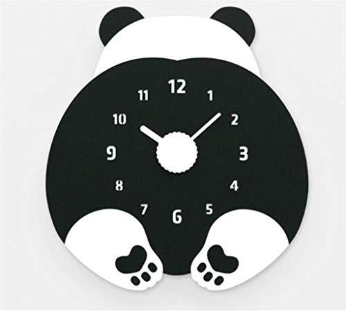 SCJS Modern Individuality Children's Cartoon Clock Living Room Creative Wall Clock Teddy Bear Bedroom Wall Clock No Battery, Black Bear-WEIQI
