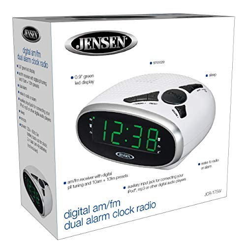 Jensen Digital Clock with Battery Backup, Dual & Snooze Functions, 0.9-Inch White